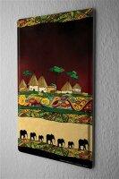 Blechschild afrikanisches Dorf bunte Ornamente Elefanten...