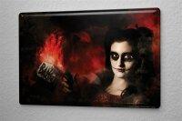 Blechschild Fantasy Gothik Mädchen mit Waffe Wand...