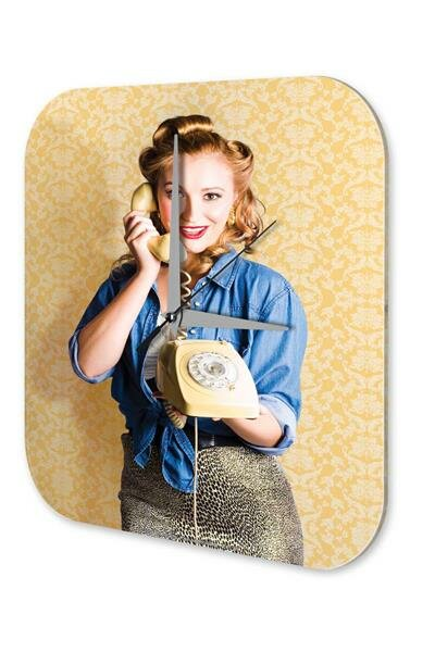 "Nostalgic Wall Clock phone printed acryl plexiglass 10x10"""