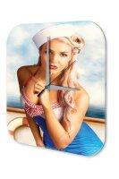Sexy Girl Wall Clock Blonde sailor ship Printed Acryl...