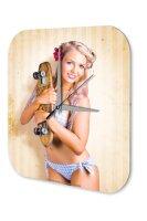Sexy Girl Wall Clock bikini skateboard Printed Acryl...
