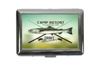 cigarette case tin Angler Home Trout Print Sport Fishing...