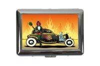 cigarette case tin Vintage Car Devil hot rod Print