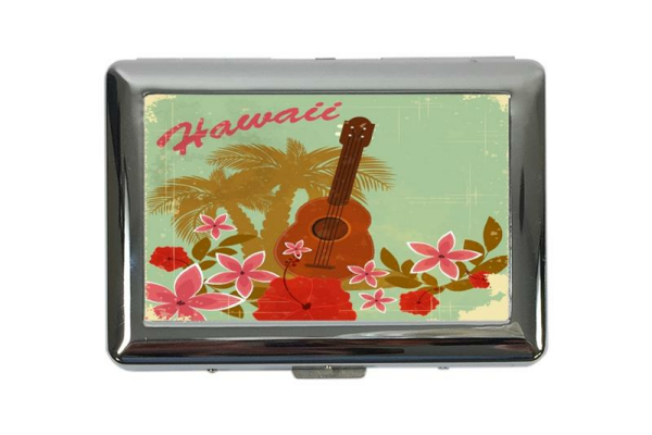 cigarette case tin Holiday Travel Agency Hawaiian guitar Print