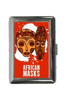 cigarette case tin Holiday Travel Agency African Masks Print