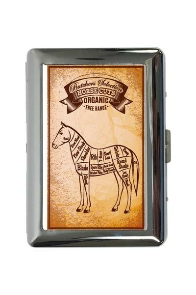 cigarette case tin Retro Horse meat Print