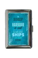 cigarette case tin Fun Ship Print