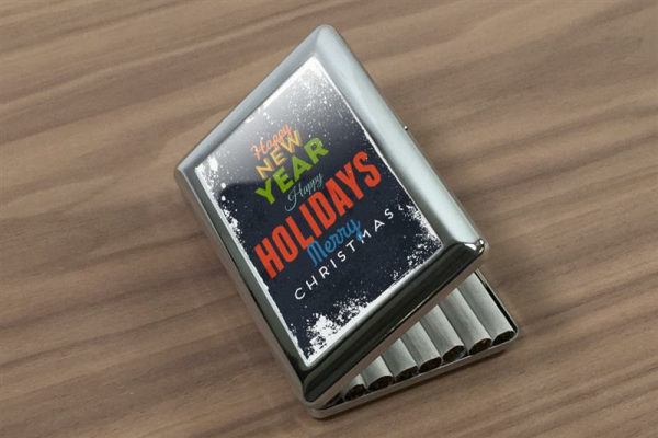 cigarette case tin Retro happy holidays Print