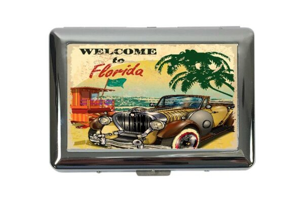 cigarette case tin Holiday Travel Agency Florida Beach Print