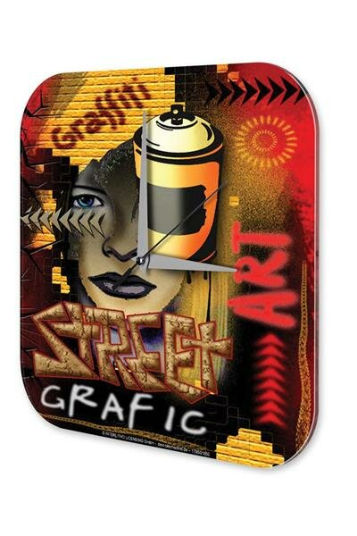 Wall Clock Graffiti Street Art Printed Acryl Acrylglas Vintage