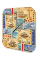 Wall Clock Travel Vintage Ship Types node printed acryl...