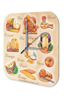 Wall Clock Globetrotter France cheese bread printed acryl...
