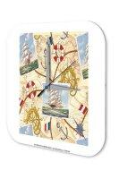 Wall Clock Kitchen Decor Ship World Map Sailboat printed...