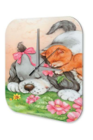 Decorative Wall Clock Funny Lady Dogs Cats Puppy printed...