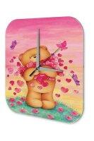 Fun Cartoon Wall Clock Vintage Teddy bear heart butterfly...