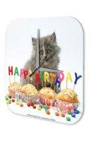 Wall Clock Birthday Congratulations Cats Puppy Happy...