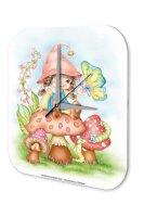 Wall Clock Fun Kitchen Decoration Gnome Mushroom...