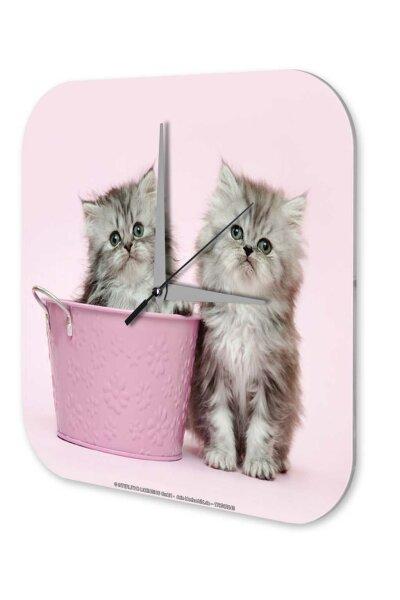 Decorative Wall Clock Vet Practice Puppy kitten pink bucket Acryl Acrylglass