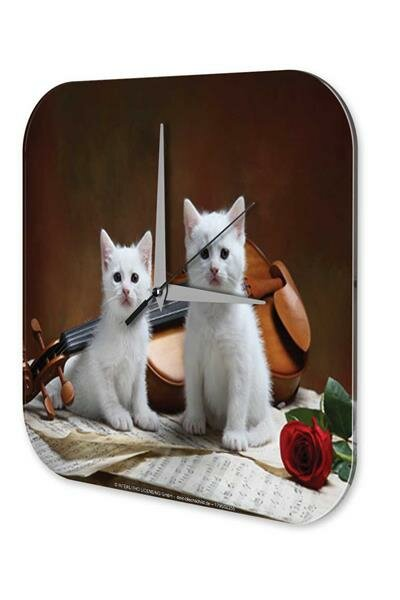 Wall Clock Cat Breed Puppy Kitten violin Printed Acryl Acrylglass