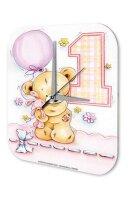 Wall Clock Fun Birthday First Birthday Balloon Bear...
