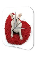Wall Clock Nursery Decoration Albino puppy heart-shaped...