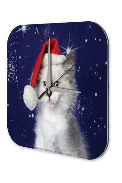 Wall Clock Christmas Decoration Cat Santa Hat Acryl Acrylglass