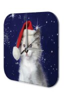 Wall Clock Christmas Decoration Cat Santa Hat Acryl...