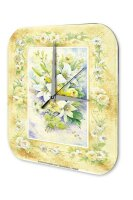 Wall Clock Plants Decoration Flower Bouquet Card printed...