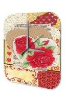 Wall Clock Fun Birthday Heart tinker rose blossom Vintage...