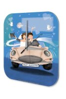 Wall Clock Wedding Decoration just married car printed...