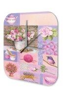 Wall Clock Flora Floral Decoration pink roses teapot bird...