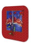 "Wall Clock Flora Floral Decoration colorful goldfish printed acryl plexiglass 10x10"""