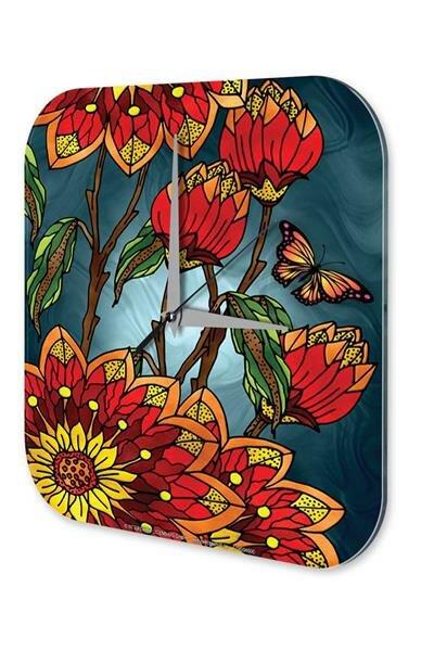 "Wall Clock Flower Shop Decoration Tortoise brown leaves printed acryl plexiglass 10x10"""