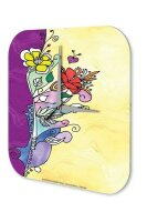 Wall Clock Fantasy  Gothic Card design pink flower with...