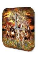 Fun Wall Clock Vintage Decoration Wild horses  printed...