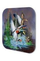 Wall Clock Bird Ducks in the pond Printed Acryl Acrylglas...