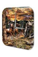 Wall Clock Fantasy Motif horses Decorative Acrylglass