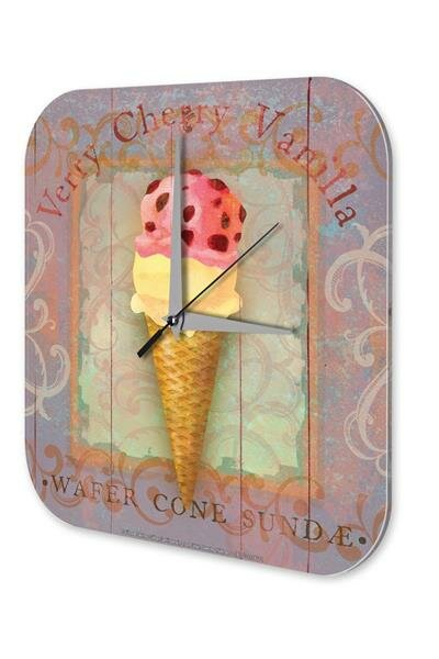 Wall Clock Kitchen Decor Ice cream cherry vanilla scoop ball Printed Acryl Acrylglass