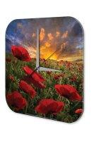 Wall Clock Plants Decoration Poppy Field Sunset Acryl...