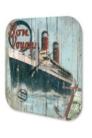 Wall Clock Travel Vintage Bon Voyage passenger ship...