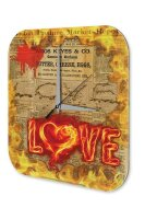 Wall Clock Lettering LOVE red burning heart on newspaper...
