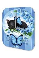Decorative Wall Clock Vet Practice black kitten blue flowers butterfly Acryl Acrylglass