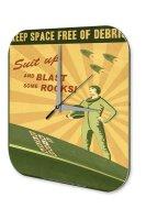 Wall Clock Nostalgic Space Decoration Space debris rocket...