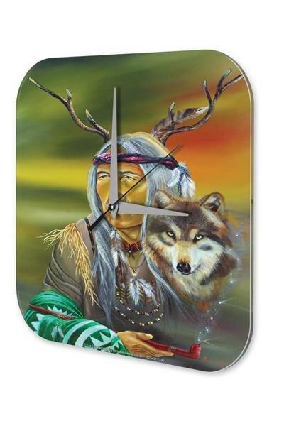 Wanduhr Western Cowboy Indianer Deko Wolf Kopfschmuck Pfeife Dekouhr