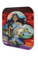 Wall Clock USA Native Indian woman horse owl water hands...