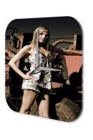 Sexy Girl Wall Clock blonde tractor Printed Acryl Acrylglass