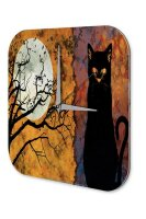 Wall Clock Vintage Gothic Full moon cat Dream World Vintage