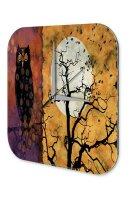 Wall Clock Fantasy Motif Owl Moon Decorative Acrylglass