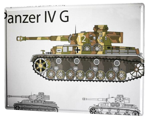 Blechschild XXL Retro Motiv Kampfpanzer IV G
