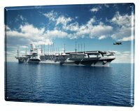Tin Sign XXL Retro Aircraft carrier